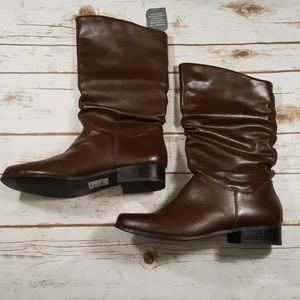 Brown Leather Mid Calf Boots